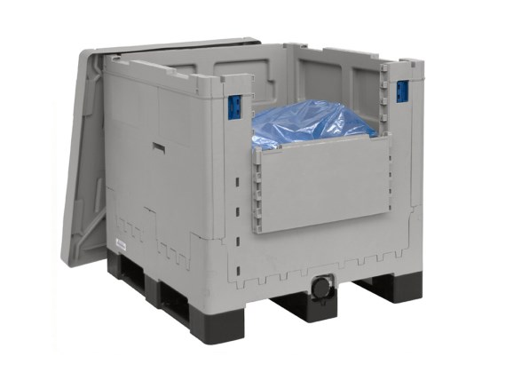 MAGNUM Combo bag-in-box container - 1155 x 1155 mm - inklapbaar - met onderuitloop - 3 sledes 4420.032