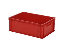 SOLID LINE stapelbak Euronorm - 600 x 400 x H 220 mm (gladde bodem) - rood